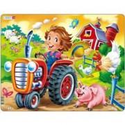 Puzzle Copil La Ferma Pe Tractor, 15 Piese Larsen