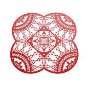Driade Kosmo Dessous de verre Petal Italic Lace / 10 x 10 cm - Lot de 4 - Driade Kosmo rouge en métal