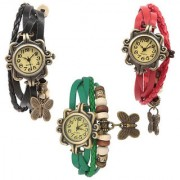 Set of 3 Fancy Vintage Black Green Red Leather Bracelet Butterfly Watch for Girls Women - Combo Offer