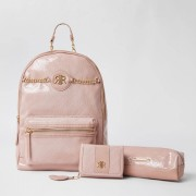 river island Girls Pink patent embossed back pack bundle (One Size)