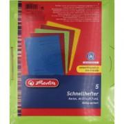 Herlitz Schnellhefter, A4, Dokumentenhefter mit kaufmännischer- und Behördenheftung, 1 Packung = 5 Stück, farbig sortiert