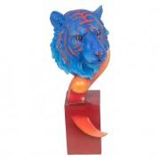 Escultura Tigre Bengala Blue e Orange Fullway 56x25