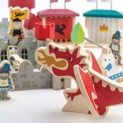 Joc de construit Castelul Royal, lemn premium, 100 piese