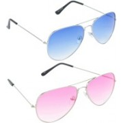 Hrinkar Aviator Sunglasses(Blue, Pink)