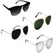 Sulit Aviator, Rectangular, Wayfarer Sunglasses(Black, Black, Green, Silver)
