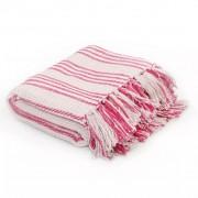 Sonata Декоративно одеяло, памук, ивици, 220x250 см, розово и бяло