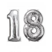 Conjunto de 2 balões de alumínio número 18 prateado