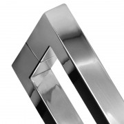 Puxador Inox Duplo para Madeira E Vidro Quadrado 25*25*60cm furação 580mm Escovado