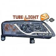 Set fari fanali proiettori anteriori TUNING TUBELIGHT LTI XENON HID AUDI A6 2004-2008 D2S XENON HID cromati, con luce DIURNA DRL DAYLINE LED