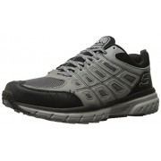 Skechers Men's Geo-Trek Grey and Black Leather Sneakers - 9 UK/India (43 EU) (10 US)