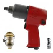 """ZESTAW Klucz pneumatyczny udarowy CP7733 1/2"""" Chicago Pneumatic + wtyk 1/4"""" + naolejacz - 746 Nm"""