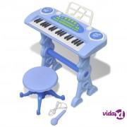 vidaXL Plava dječja klavijatura s 37 tipki, stolicom i mikrofonom