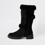 River Island Zwart / Zwarte kniehoge laarzen met voering van iminitatiebont Dames