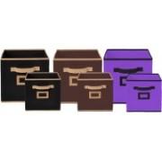 Billion Designer Non Woven 6 Pieces Small & Large Foldable Storage Organiser Cubes/Boxes (Black & Coffee & Purple) - CTKTC35380 CTLTC035380(Black & Coffee & Purple)