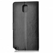 Funda protectora de cuero PU Flip-Open con soporte para Samsung Nota 3 / N9000 - Negro