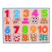 Puzzle Numere si culori, 20 piese din lemn, numere de la 1 la 10