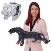 Deko Figur Leopard 59cm, Polyresin Skulptur Panther, In-/Outdoor ~ silber ~ Variantenangebot