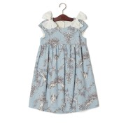 【69%OFF】プリント 肩リボン キャップスリーブ ドレス ブルー 7 ベビー用品 > 衣服~~ベビー服