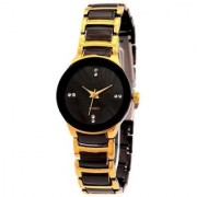 Code Yellow Women's Black Gold Metal Strap Round Dial Analog Watch with 6 Months Warranty