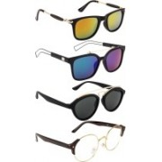 NuVew Oval, Round, Wayfarer Sunglasses(Blue, Clear, Grey, Golden, Green, Orange)