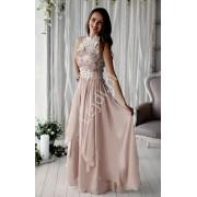 Beżowa długa suknia wieczorowa z kwiatami 3D beżowe długie sukienki wieczorowe