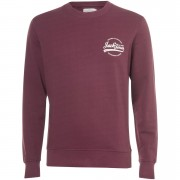 Jack & Jones Originals Men's Raf Small Logo Sweatshirt - Sassafras - XL - Burgundy