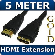5M HDMI Extension Cable Lead Male to Female Gold 1.3
