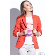 Orange Petite Collar Coat with Side Flap Pockets