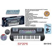 Синтезатор 37 клавиш, черн., эл. звук, микрофон,запись,элементы питания не входят в комплект. ZYB-B0689-1