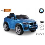 Mașină electrică BMW X6M NOU - Ochi de unică folosință, albastru lăcuit, roți EVA, scaun din piele, 12V, 2,4 GHz DO, 2XMOTOR, USB, card SD, licență ORGINAL
