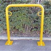 Fahrradanlehnbügel, 850 mm über Flur zum Aufdübeln U-förmig, Breite 750 mm, gelb