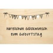Die Laserei Holzgrusskarte - Geburtstag - Herzlichen Glückwunsch zum Geburtstag mit Wimpeln