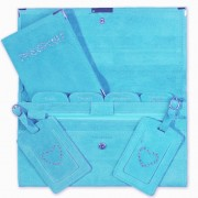 Travel Documents Set - Aqua Suede with Bling