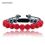 11 kristály gömbös shamballa karkötő - piros