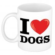Bellatio Decorations Cadeau I Love Dogs koffiemok / beker voor honden liefhebber 300 ml