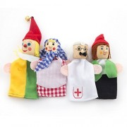 Home-organizer Tech 4 Pcs Story Time Finger Puppets-4 people Family Members Educational Puppets Civilian