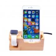 Suport birou Bambus Iphone si Apple Watch D5