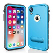 REDPEPPER Dot+ Series Dustproof Snowproof IP68 Waterproof Back Case with Kickstand for iPhone XR 6.1 inch - Blue