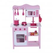 HOMCOM Cucina Giocattolo per Bambini in Legno Rosa, 60x30x84.5cm