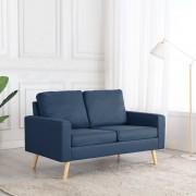 vidaXL 2-местен диван, син, текстил