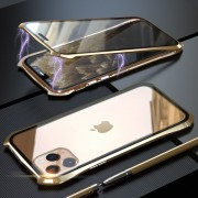 LUPHIE Bat Style Magnetic Installation Metal Frame + Tempered Glass Alll-side Protective Case for iPhone 11 Pro Max 6.5 inch - Gold