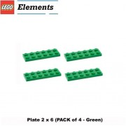 Lego Parts: Plate 2 x 6 (PACK of 4 - Green)