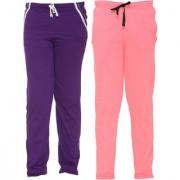 Vimal-Jonney Multicolor Cotton Blended Trackpants For Girls(Pack Of 2)