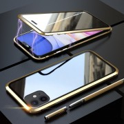 LUPHIE Two-sided Magnetic Adsorption Metal Frame Case for iPhone 11 6.1 inch - Gold