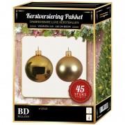 Bellatio Decorations Kerstbal en ster piek set 45x goud voor 120 cm boom