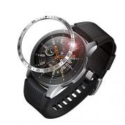 Fintie Anillo de Bisel para Samsung Galaxy Watch 46mm / Gear S3 Frontier & Gear S3 Classic, Carcasa Protectora contra Rayones de Aacero Inoxidable Bucle de Bisel (Plateado/Negro)
