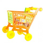 MagiDeal Mini Shop Basket Hand Push Trolley Cart with Foods Set Children Pretend Food Play Toy Xmas Gift