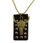 The Jewelbox Gold Leather Oxidized Pendants & Chains For Men