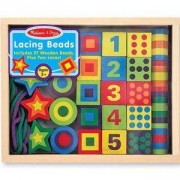 Детска низанка с дървени фигурки и цифри - 13775 - Melissa and Doug, 000772137751