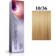 Wella Professionals Vopsea permanenta Wella Professionals Illumina Color 10/36 Blond Luminos Deschis Auriu Violet 60ml